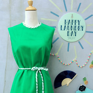 Bye Bye Miss Flutterbye | Vintage 1960s Twiggy mod A-line shift dress with Matching striped belt tie and Neck piping | Bright Happy Neon Green
