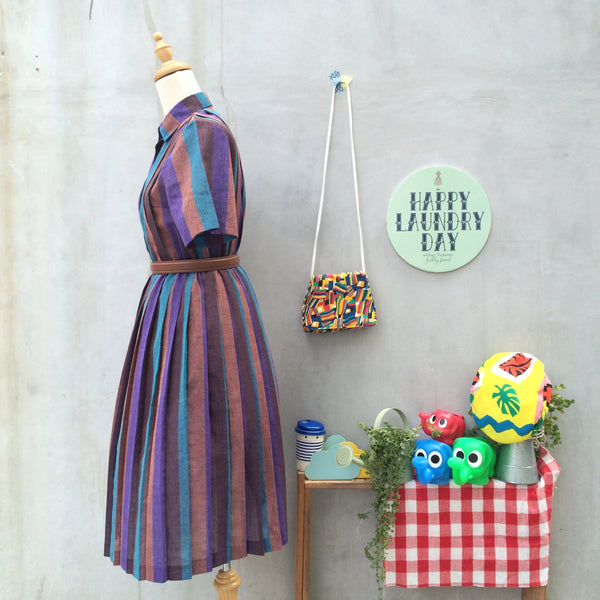 The Road Home| Vintage 1940s 1950s Vertical Stripe purple turquoise brown Cute Collar Dress