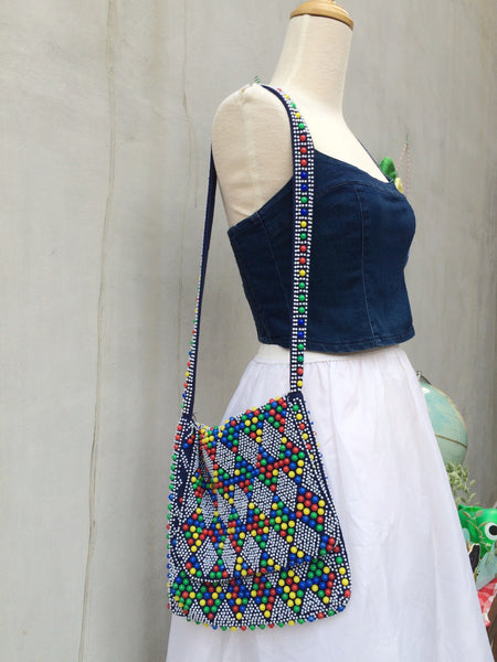 Sweet Tooth | Vintage 1960s 1970s Hippie Flower Power Boho chick chic Beaded Shoulder Sling Bag