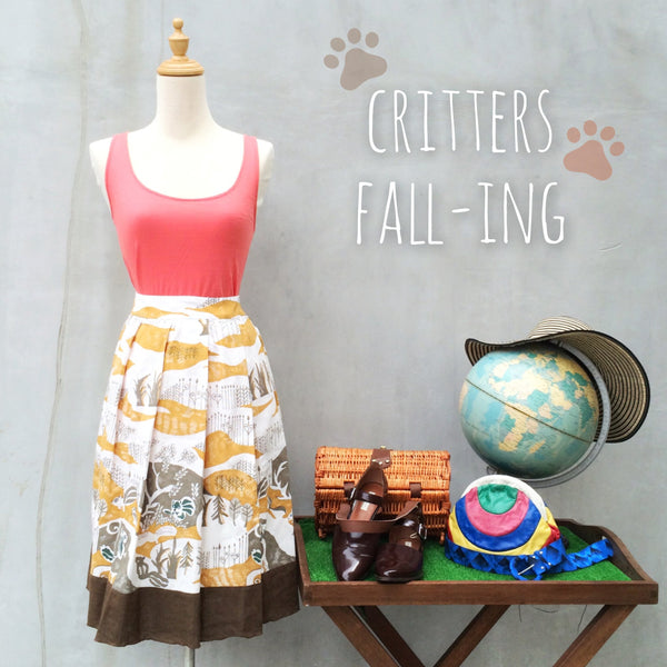 Critters Fall-ing | Vintage 1960s abstract Squirrel and Forest print Autumn Box-pleat Circle Skirt