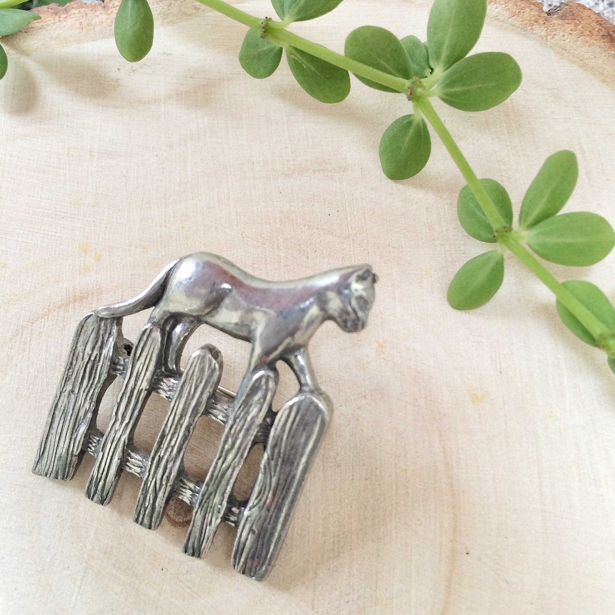 Cat on the Fence | Vintage dark pewter-tone Novelty brooch
