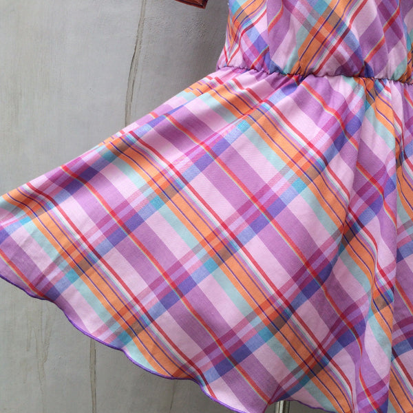 SALE! | Vintage 1980s purple and pink Checkered Plaid Dress