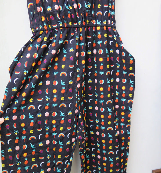 Jumpfruit | Vintage 1980s Fun Fruits Rainbow Pineapple Watermelon print Jumpsuit Playsuit