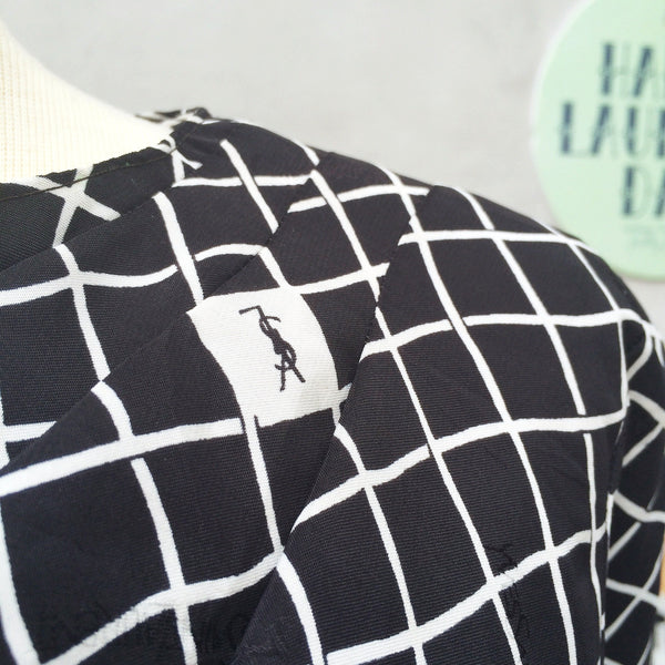 Imperfect Square | Vintage YSL print (real thing? maybe but no tags) black white Checkered grid square Cowl neck 1980s Dress