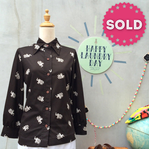 Elly Ele | Vintage 1960s 1970s Big Pointy Collar dark brown shirt with Indie Elephant prints