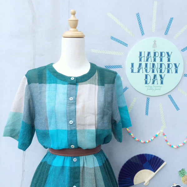 Rustic Summer | Vintage 1950s Turquoise and Khaki grey Rustic Comfy Summer Dress with POCKETS