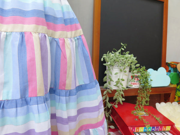 Silver Rainbow Lining| Vintage 1960s 1970s rainbow stripes Silver threads Flared Tiered Skirt