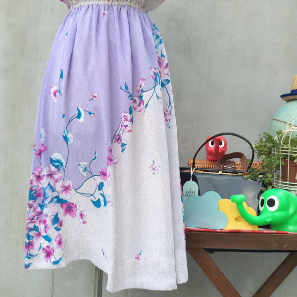 Morning Glory | Vintage 1970s purple and pink Flower motif Sundress