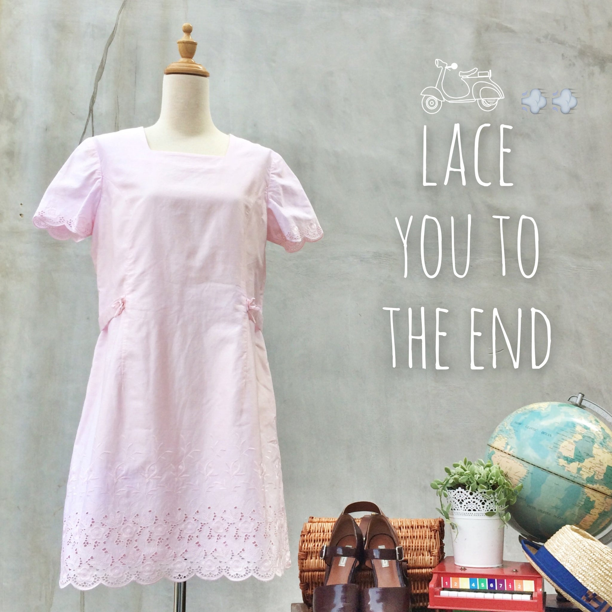 SALE! |  Lace to the end | Vintage 1960s mod shift Tent dress in Pink | Embroidered scallop hem dress