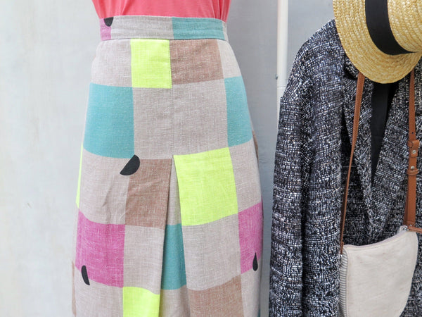 Must Have! | Wanda | Vintage 1980s Pop art abstract Watermelon multicoloured square print skirt