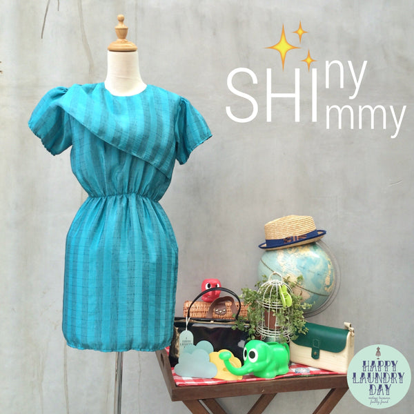 SALE | Shiny Shimmy | Vintage 1980s short lame thread style Front flap Mini Dress