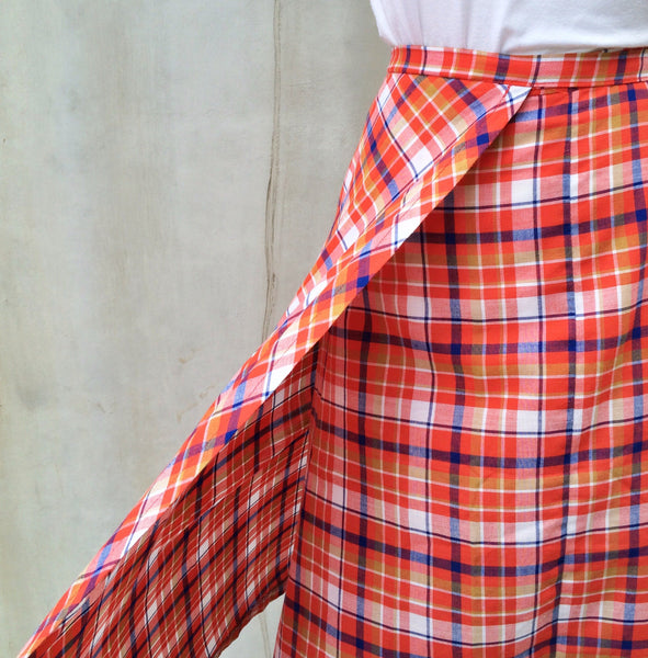 Orange County | Vintage 1960s 1970s hippie boho Festival plaid Gingham Orange red blue checkered Skirt