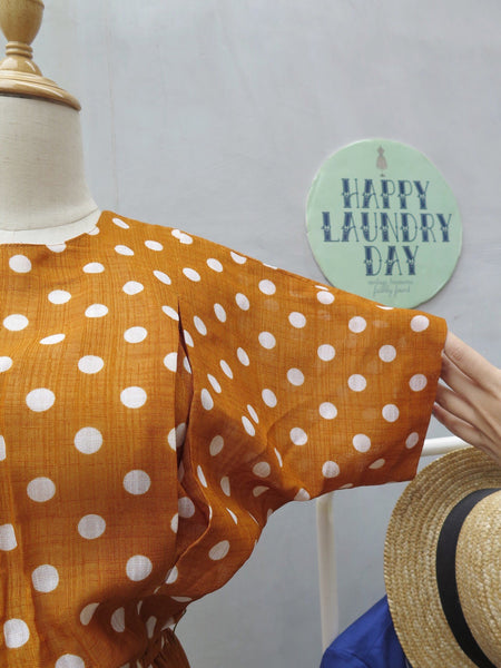 Fabiana | Vintage 1960s 1970s Brown white polka dot Day dress