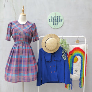 Ginny | Vintage 1940s 1950s Pink and blue gingham checkered mock sailor bib vintage dress