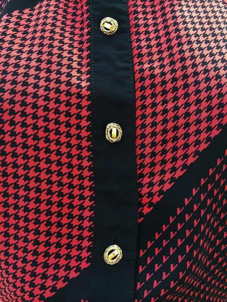 Red Cardinal | Vintage 1970s houndstooth and checkered Black Red Pleated dress