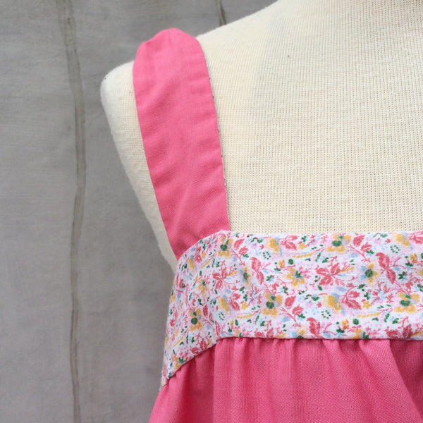 SALE | Sunny Country | Vintage 1960s Oversized Pink floral and Applique Sundress