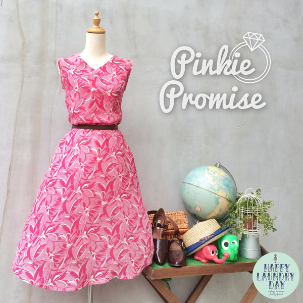 Pinkie Promise | Vintage 1980s Hot fuchsia pink Artistic brushstrokes Sleeveless Dress
