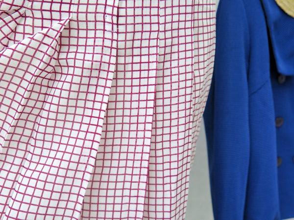Stella | Vintage 1960s 1970s White cherry red checked gingham Easy button-down Day Dress
