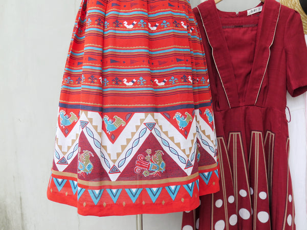 Must Have! | Candace | Vintage 1950s 1960s chick and hen Red ethnic print Sleeveless Day Dress