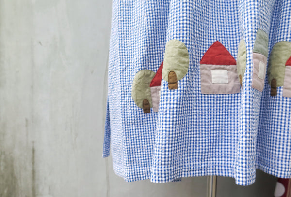 Home & Hearth | Vintage 1980s 1990s patchwork appliqué blue white checkered dress