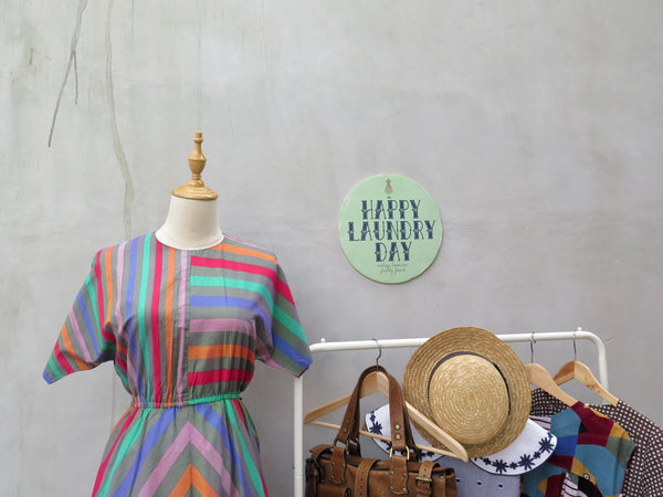 Francelle | Vintage 1960s 1970s rainbow stripes happy multi-coloured stripes dress