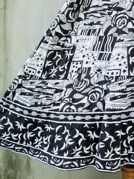 Caitlin | Vintage 1980s 1990s duotone abstract folk art cubism print cotton dress