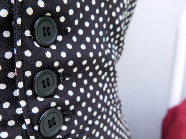 Sonia | Vintage 1980s 1990s weighted flared black white polka dots jumper dress