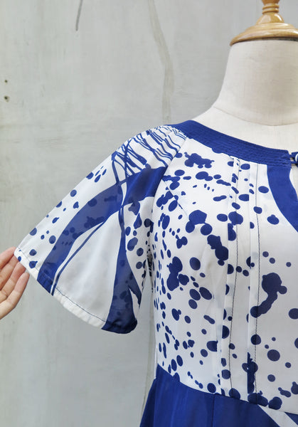 Demoiselle | Vintage 1960s 1970s Blue abstract brushstroke print short dress