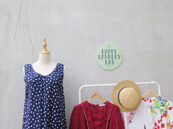 Peri | Vintage 1980s 1990s blue white polka dots crinkled cotton sleeveless dress