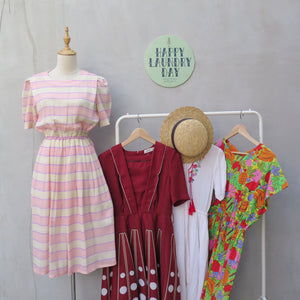 Valentina | Vintage 1960s 1970s Pink yellow pastel stripes dress