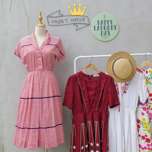Forsythia | Vintage 1950s 1960s red white striped Diner Dame Candy Striper dress