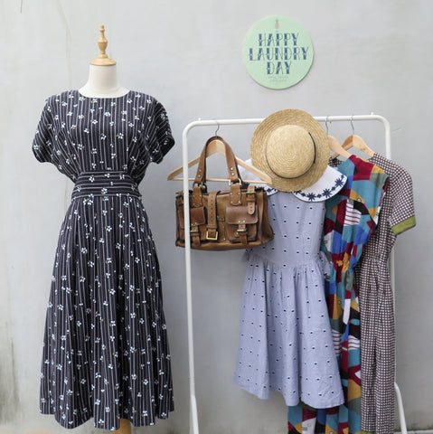Blake | Vintage 1980s buttoned-back black dress with floral print polka dots Midi dress