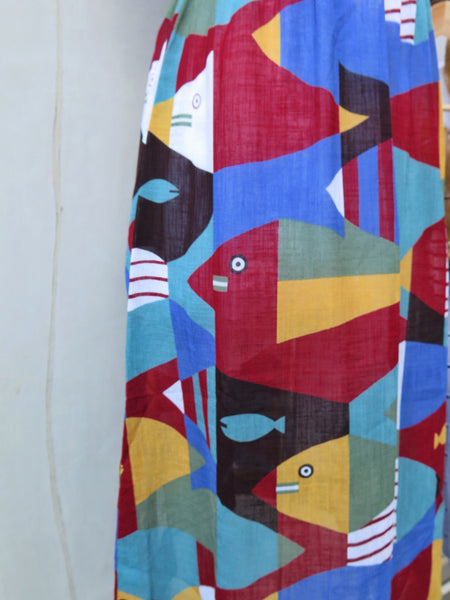 MUST HAVE! | Fivlof | Vintage 1960s 1970s novelty print cubism geometric print multi-color dress