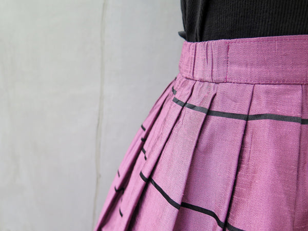 Twain | Vintage 1950s 1960s silk sheen violet purple and striped skirt