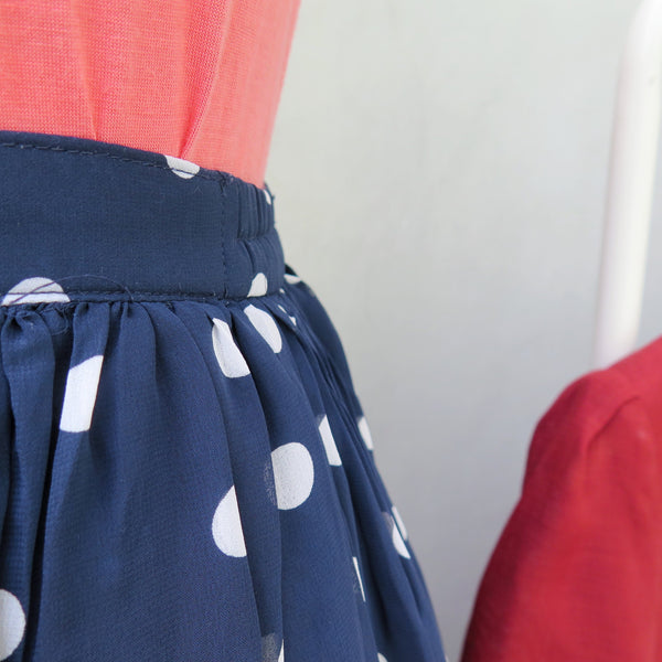 Zoey | Vintage 1960s 1970s polka dot blue and navy print mid-length skirt