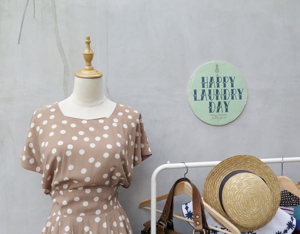 Khelli | Vintage 1980s-does-1950s light khaki brown polka dot dress luxurious touch