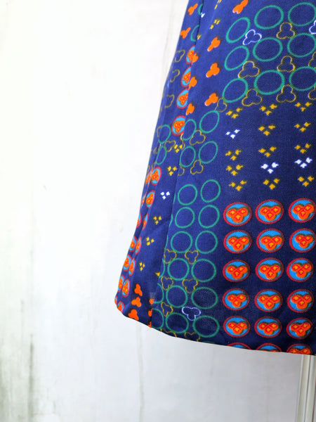 Must Have! | North Wind | Vintage 1960s 1970s blue-blue geometric print short sleeve A-line flared dress