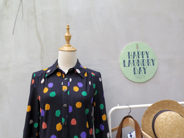 MUST HAVE! | Carine | Vintage 1960s 1970s multi color polka dots loose fit Long sleeve dress