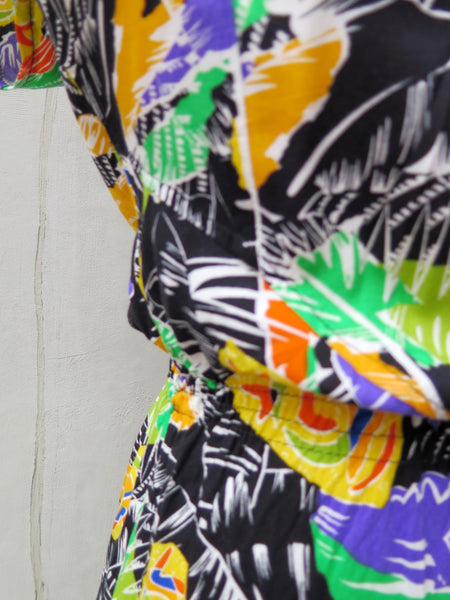 Pia | Vintage 1970s fun tropical Caribbean colourful print sleeveless dress