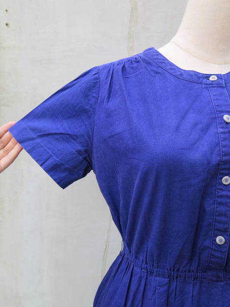 Tilly | Vintage 1960s 1970s peace love hippie Woodstock vibe indigo blue Dress