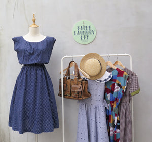 Winifred | Vintage 1950s 1960s V-back white navy blue tiny polka dot print swing style dress
