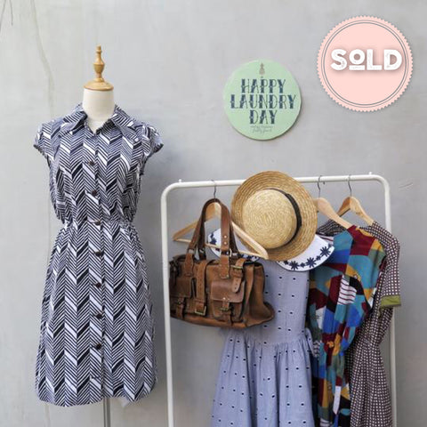 Marcy | Vintage 1960s 1970s Chevron and Stripes Cap-sleeve Dress