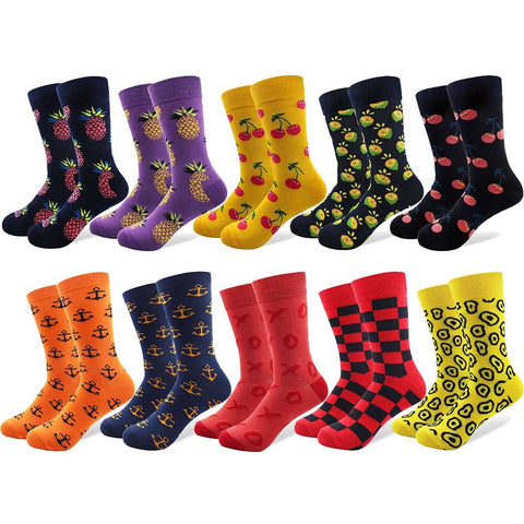 Image of 10 Pairs/Lot Fruit Happy Men's Socks Cotton tube Cherry Lemon Square Anchor Pattern Colorful Funny Unisex Sock