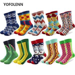 10 Pairs/lot Men's Novelty Funny Happy Socks Colorful Combed Cotton Corn Space Man Hot Dog Crocodile Casual Crew Crazy Socks