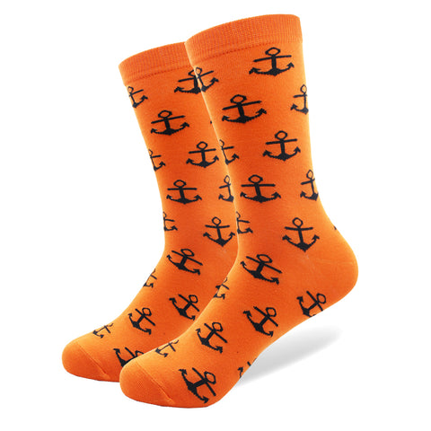 5 Pairs/lot Combed Cotton Men Socks High Quality with a Pattern Anchor Beard Wedding Gift Crew Happy Colorful Long Sock