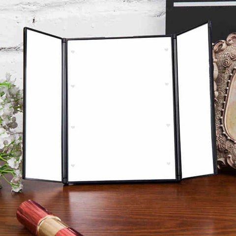 Image of Tri-Fold Lighted Travel Makeup Mirror