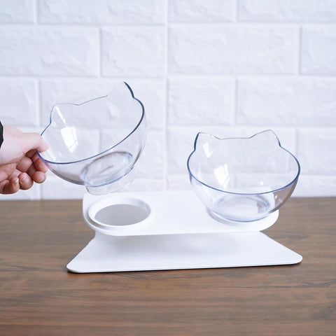 Image of Raised Non-slip Hard Plastic Cat Bowls