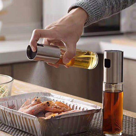 Image of Glass Olive Oil or Vinegar Bottle Dispenser Sprayer