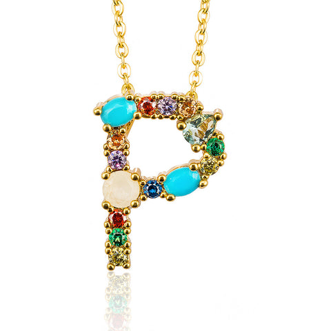 Multicolor fashion charm Gold 26 Alphabet pendant necklace micro pave zircon initial letter necklaces Couple Name necklace