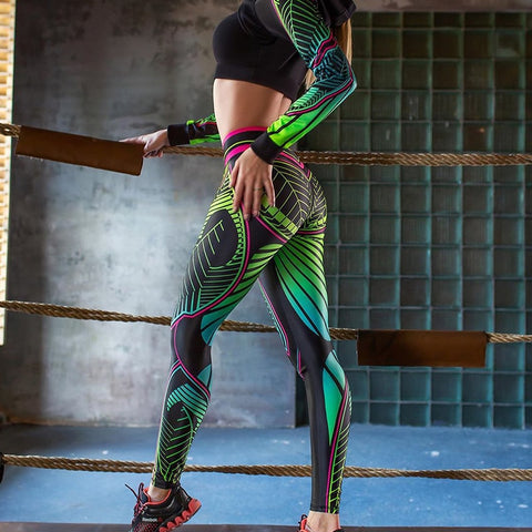 Image of NORMOV Sexy Green Printing Leggings Push Up High Waist Leggings